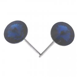 KOLCZYKI RODOWANE 6MM MONTANA BLUE CRYSTAL XUPING 30994