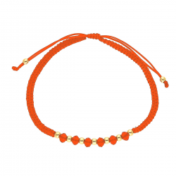 BRANSOLETKA POZŁACANA RED STRING SIAM CRYSTAL XUPING 34106