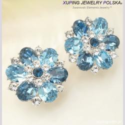KOLCZYKI RODOWANE CRYSTAL FROM SWAROVSKI® Aqua blue XUPING 3154